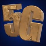 symbol 3D guld- 5G på blått Arkivfoton