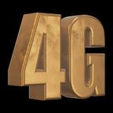 symbol 3D guld- 4G på svart Royaltyfri Fotografi