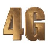 symbol 3D guld- 4G på vit Royaltyfri Bild