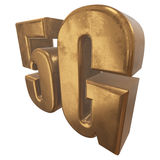 symbol 3D guld- 5G på vit Arkivbild