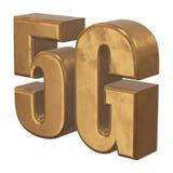 symbol 3D guld- 5G på vit Royaltyfri Bild