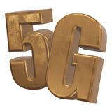 symbol 3D guld- 5G på vit Arkivfoto