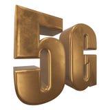 symbol 3D guld- 5G på vit Arkivbilder