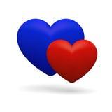 symbol 3D med hans och hennes hjärtor Arkivbilder