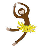 Symbol in 2016 Dancing monkey. Monkey in a skirt of bananas stock illustration