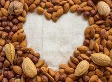 Symbol - das Herz Um eine Vielzahl von Nüssen - Walnüsse, Mandeln, Lizenzfreies Stockbild