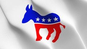 Symbol demokratischer Partei Vereinigter Staaten fahnenschwenkend auf Wind stock abbildung