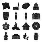 Symbol, Denmark, buildings and other web icon in black style.Design, history, tourism icons in set collection. Royalty Free Stock Image