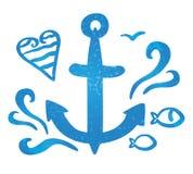 Symbol denna kotwica, fala i ilustracja wektor