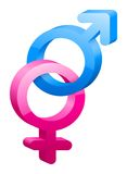 Symbol der Frau 3D und des männlichen Geschlechts Stockfotografie