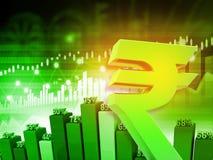 Symbol der indischen Rupie mit Diagramm Lizenzfreie Stockfotos