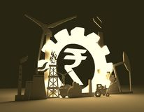 Symbol der indischen Rupie und industrielle Ikonen Lizenzfreies Stockfoto