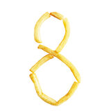 Symbol 8 der Nr. acht wird von den Pommes-Frites gemacht Lizenzfreie Stockfotos
