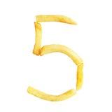 Symbol 5 der Nr. fünf wird von den Pommes-Frites gemacht Stockbilder