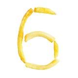Symbol 6 der Nr. sechs wird von den Pommes-Frites gemacht Lizenzfreies Stockfoto