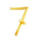 Symbol 7 der Nr. sieben wird von den Pommes-Frites gemacht Lizenzfreies Stockbild