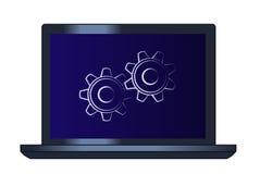 Symbol der Zahnräder auf der Laptop-Computer Stockbild