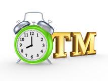 Symbol des eingetragenen Warenzeichens und der grünen Uhr. Lizenzfreies Stockfoto