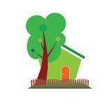 Symbol des grünen Hauses und des Baums für Naturvektor Lizenzfreies Stockfoto
