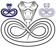 Symbol des Jahres - eine Schlange. Öffnen Sie giftige Kiefer vektor abbildung