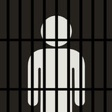 Symbol des Mannes ist hinter Gittern im dunklen Platz stock abbildung