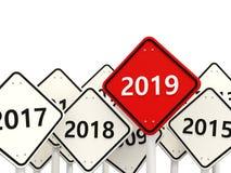 Symbol des neuen Jahres 2019 auf einem roten Verkehrsschild vektor abbildung