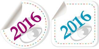 Symbol des neuen Jahres 2016, Ikonen oder Knopfsatz lokalisiert auf weißem Hintergrund Stockfotos