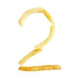 Symbol des Nummer zwei 2 wird von den Pommes-Frites gemacht Lizenzfreies Stockbild