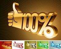 Symbol des Rabattes oder der Prämie auf stilisiert Hand 100% Lizenzfreie Stockfotografie