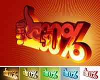 Symbol des Rabattes oder der Prämie auf stilisiert Hand 30% Stockbild
