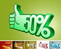 Symbol des Rabattes oder der Prämie auf stilisiert Hand 50% Lizenzfreies Stockfoto