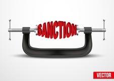 Symbol des Sanktionsvektors Stockfoto