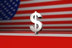 Symbol des silbernen Dollars vor amerikanischer Flagge Stockbild