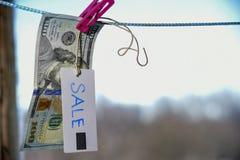 Symbol des Verkaufsdollars hängend an einem Seil mit einer Klemme 100 Lizenzfreies Stockfoto