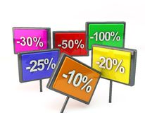 Symbol of different discount rates Stock Images