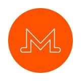 Symbol of digital crypto currency Monero,  monochrome round icon. Royalty Free Stock Photos
