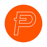 Symbol of digital crypto currency Potcoin, monochrome round line icon, flat style, simple color change Royalty Free Stock Photography