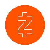 Symbol of the digital crypto currency Zcash, monochrome round linear icon, flat style, simple color change Royalty Free Stock Photo