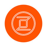 Symbol of digital crypto currency Zerocoin, monochrome round linear icon, flat style, simple color change Stock Image