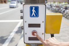 Symbol for disabled person at the traffic light Stock Photos