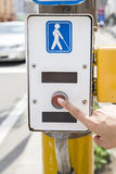 Symbol for disabled person at the traffic light Stock Photography