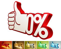Symbol of discount or bonus on stylized hand 100% Royalty Free Stock Image