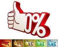 Symbol of discount or bonus on stylized hand 100%. Illustratuion of abstract symbol of discount or bonus on stylized hand 0 Royalty Free Stock Image
