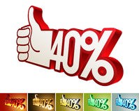 Symbol of discount or bonus on stylized hand 40% Stock Photos