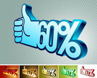 Symbol of discount or bonus on stylized hand 60% Royalty Free Stock Images