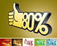 Symbol of discount or bonus on stylized hand 80% Royalty Free Stock Photo