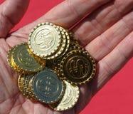 Symbol dla bitcoin blockchain wirtualnej waluty Obrazy Royalty Free
