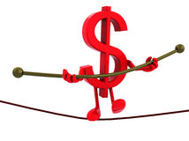 Symbol dollar acrobat who walks on a wire. Concept of a dangerous finance Royalty Free Stock Photography