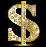 Symbol of dollar with diamonds on a black background Stock Image