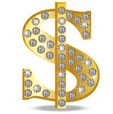 Symbol of dollar with diamonds on a white background Stock Photos